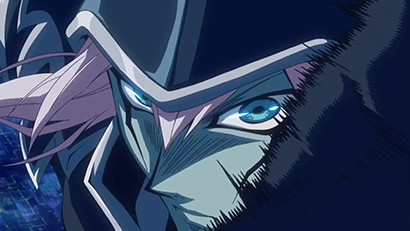 A close-up of Dark Magician from a Yu-Gi-Oh! The Dark Side of Dimensions trailer