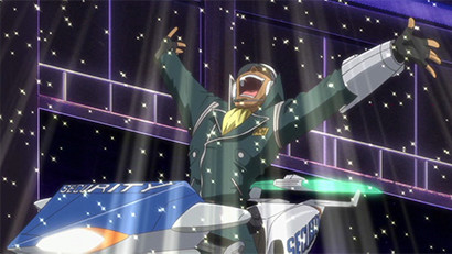 Officer Trudge smiling and raising his arms above his head as he regains life points in Yu-Gi-Oh! 5D's episode 12