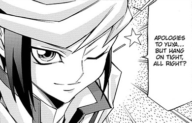 Yugo winking as he asks Yuzu to hop onto his Duel Runner and hang on in Yu-Gi-Oh! ARC-V manga chapter 10