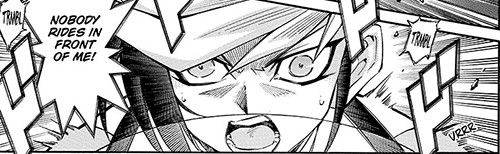 Yugo refusing to be overtaken in his Turbo Duel against Ren in Yu-Gi-Oh! ARC-V manga chapter 11