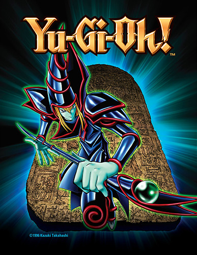 Dark Magician card art and Yu-Gi-Oh! logo