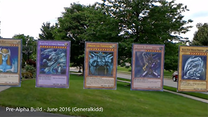 Cards on display in Yu-Gi-Oh for HoloLens pre-alpha build