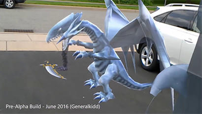 Blue-Eyes White Dragon model in Yu-Gi-Oh for HoloLens pre-alpha build