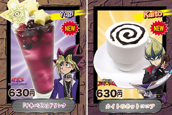 Yugi and Kaito's drinks at the AnimePlaza Yu-Gi-Oh! Cafe
