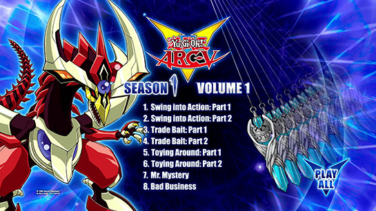 Cinedigm's Yu-Gi-Oh! ARC-V Season 1, Volume 1, Disc 1 Blu-ray menu