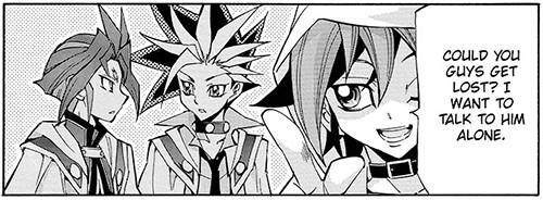 Yuya wants to talk to Reiji Akaba alone in Yu-Gi-Oh! ARC-V manga chapter 14
