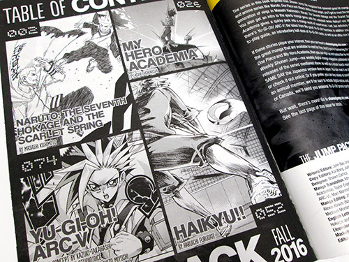 Table of contents of the Weekly Shonen Jump Fall 2016 Jump Pack