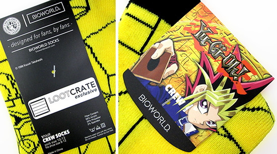 Product tag on Bioworld's Yu-Gi-Oh! Millennium Puzzle crew socks