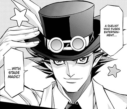 Yusho Sakaki wearing a top hat in Yu-Gi-Oh! ARC-V manga chapter 15