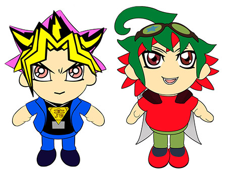 Sample artwork of Yami Yugi and Yuya Sakaki plushies from Sakami Merchandise