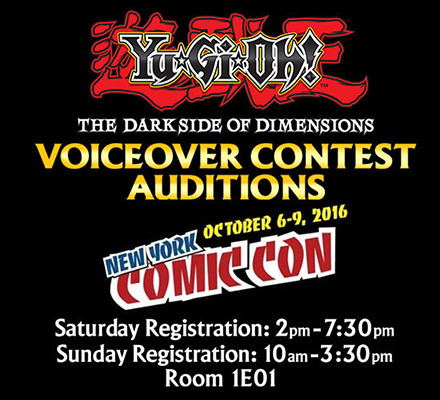 Yu-Gi-Oh! The Dark Side of Dimensions audition times at NYCC 2016