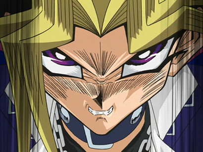 Yami Yugi, furious at Marik for hurting Joey, in episode 128