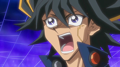 Yusei crying out during his duel against Rally in Yu-Gi-Oh! 5D's episode 46
