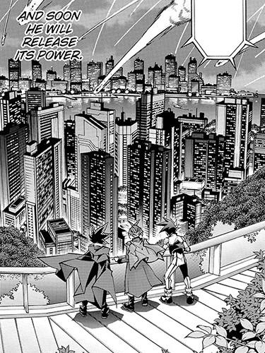 Yuto, Yuri, and Yugo looking down at the city as meteorites rain from the sky in Yu-Gi-Oh! ARC-V manga chapter 16