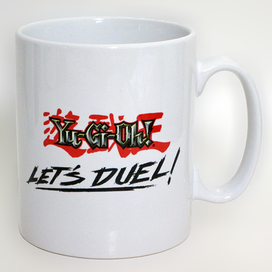 Yu-Gi-Oh! logo and Let's Duel design on a GB eye Yu-Gi-Oh! mug