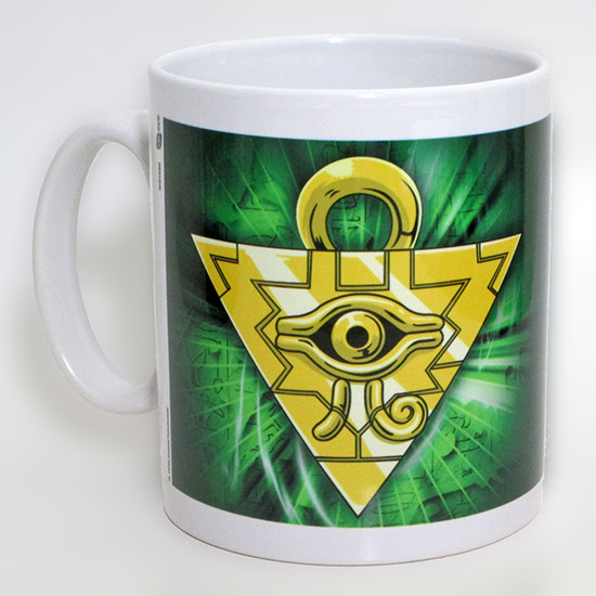 The Millennium Puzzle over a green background on a GB eye Yu-Gi-Oh! mug