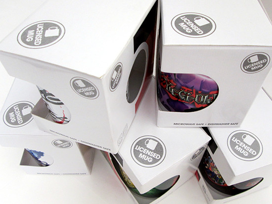 Numerous Licensed Mug labels on the GB eye Yu-Gi-Oh! mug boxes