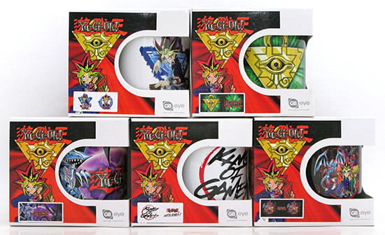 Five GB eye Yu-Gi-Oh! mugs in their boxes unopened