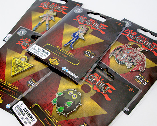 All five of Grin Studios' series 1 Yu-Gi-Oh! Collector Pins