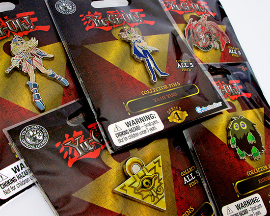 Another view of the five Grin Studios series 1 Yu-Gi-Oh! Collector Pins