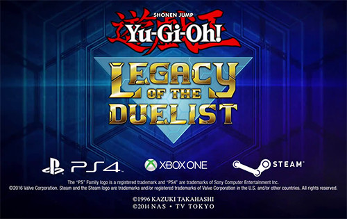 Yu-Gi-Oh! Legacy of the Duelist logo alongside the PS4, Xbox One, and Steam logos