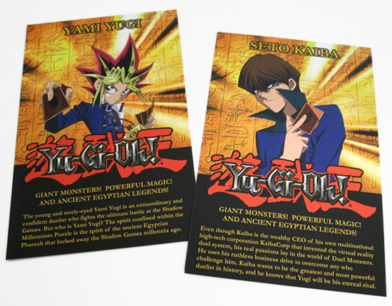 Description of Yami Yugi and Seto Kaiba on the certificate of authenticity insert