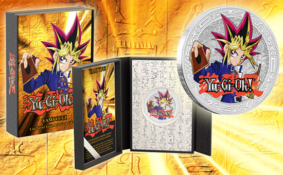 Promotional image of the New Zealand Mint Yami Yugi collectible coin and case from YUGIOH.com