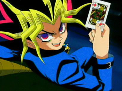 Yami Yugi holding up a king of diamonds card in episode 1 of Toei Animation's 1998 Yu-Gi-Oh! anime