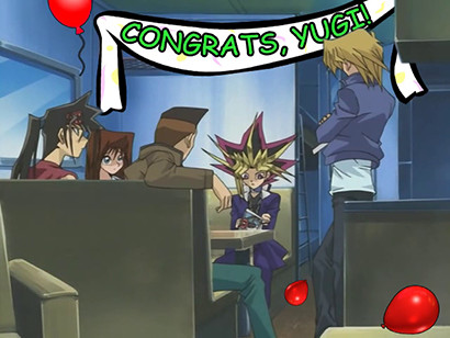 Yami Yugi and his friends definitely aren't celebrating in YGOTAS episode 72