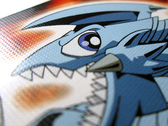 Close up of the Blue-Eyes Toon Dragon Yu-Gi-Oh! playing card