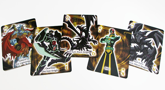 The diamonds suit in Aquarius' Yu-Gi-Oh! playing cards are made up of Joey's monsters