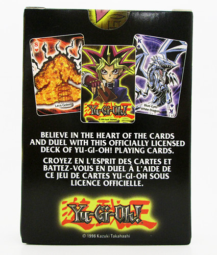 Back view of a pack of Yu-Gi-Oh! playing cards by Aquarius Entertainment Merchandising