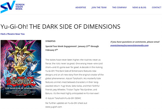 Screenshot of yugiohtickets.com website for ordering advance tickets to Yu-Gi-Oh! The Dark Side of Dimensions