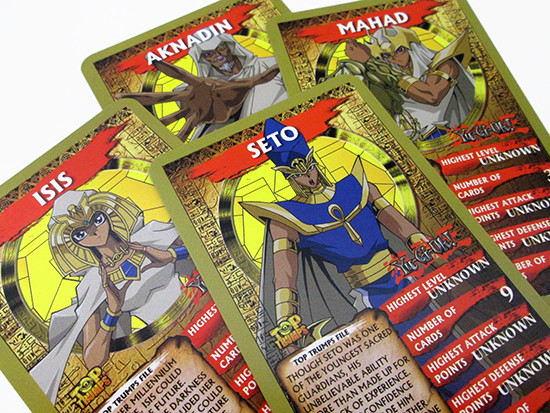 Yu-Gi-Oh! Top Trumps Aknadin, Isis, Mahad, and Seto cards
