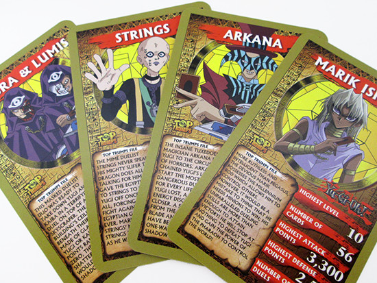 Yu-Gi-Oh! Top Trumps Umbra & Lumis, Strings, Arkana, and Marik Ishtar cards