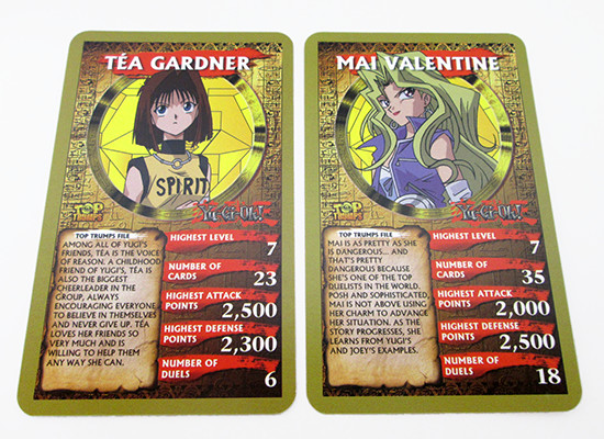 Yu-Gi-Oh! Top Trumps Tea Gardner and Mai Valentine cards