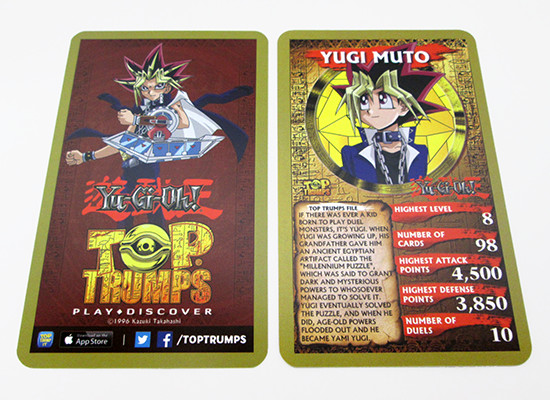 Back and front of a Yu-Gi-Oh! Top Trumps card
