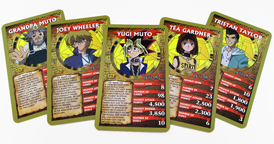 Yu-Gi-Oh! Top Trumps Grandpa, Joey, Yugi, Tea, and Tristan cards
