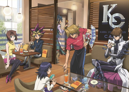 Yugi and his friends relaxing at the Yu-Gi-Oh! Tower Records Cafe