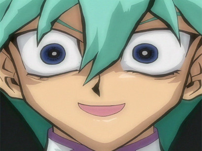 Noah making a creepy face as he chats with Seto and Mokuba in episode 103