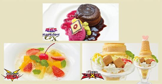 Yubel, Shingo Sawatari, and Kaito and Haruto's desserts at the Yu-Gi-Oh! Animate Cafe