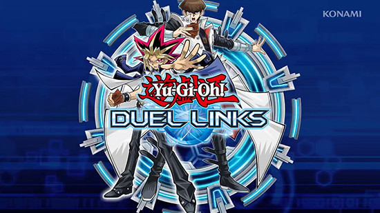 Yugi Muto, Seto Kaiba, and the Yu-Gi-Oh! Duel Links logo