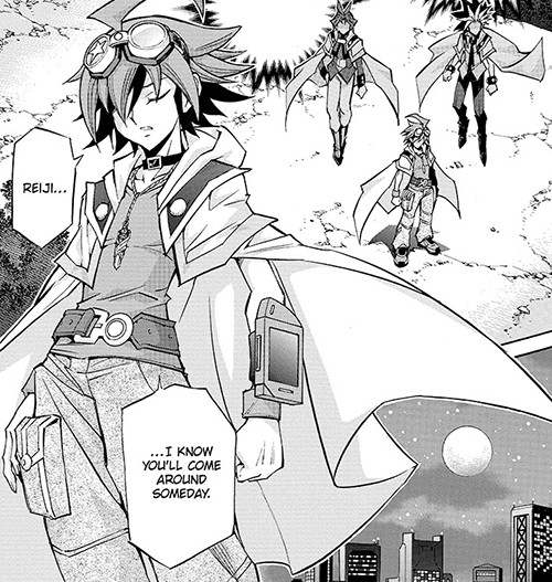 Yuya, standing in the moonlight, hoping that he and Reiji will someday be allies in Yu-Gi-Oh! ARC-V manga chapter 18