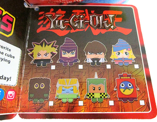 Designs of all eight small Yu-Gi-Oh! Kawaii Cubes as seen on a product tag