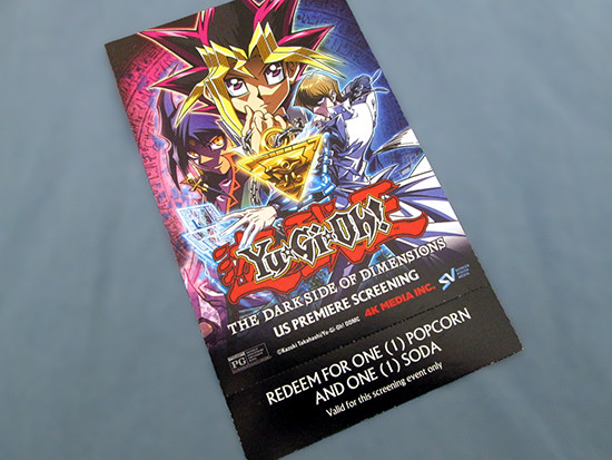 Front of the Yu-Gi-Oh! The Dark Side of Dimensions U.S. premiere screening ticket