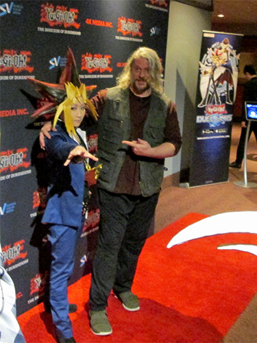 Dan Green and Yami Yugi at the Yu-Gi-Oh! The Dark Side of Dimensions U.S. premiere after-party