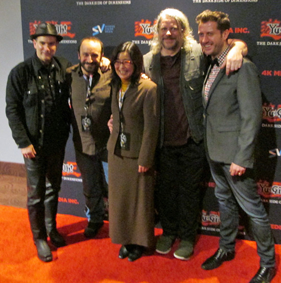 Yumi Hoashi and voice actors at the Yu-Gi-Oh! The Dark Side of Dimensions U.S. premiere after-party