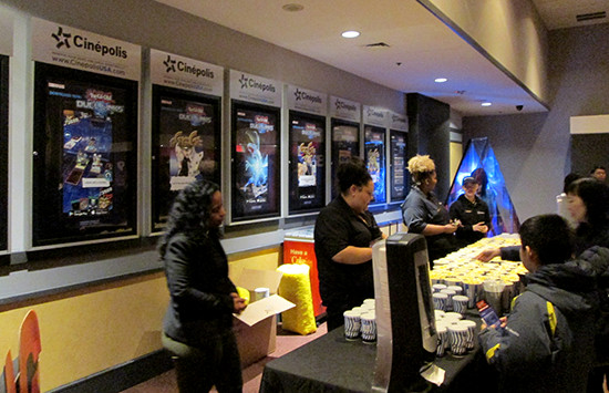 The concession stand at the Yu-Gi-Oh! The Dark Side of Dimensions U.S. premiere screening