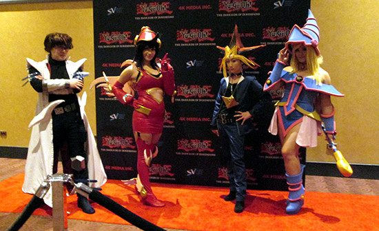 Yu-Gi-Oh! cosplayers at the Yu-Gi-Oh! The Dark Side of Dimensions U.S. premiere screening