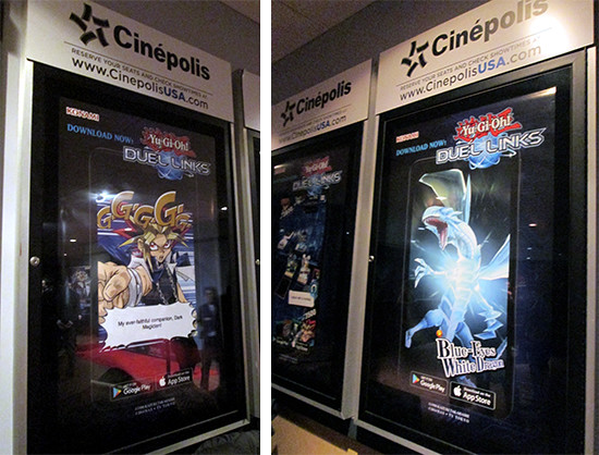Yu-Gi-Oh! Duel Links theater ads featuring Yami Yugi and Blue-Eyes White Dragon